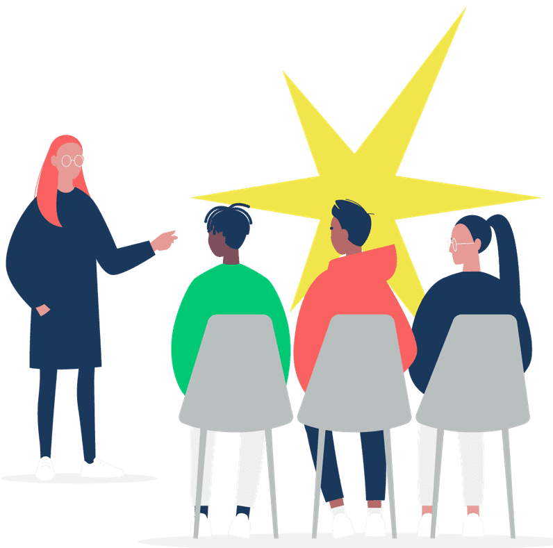 Cartoon image of group of diverse students learning with a yellow star in the background.