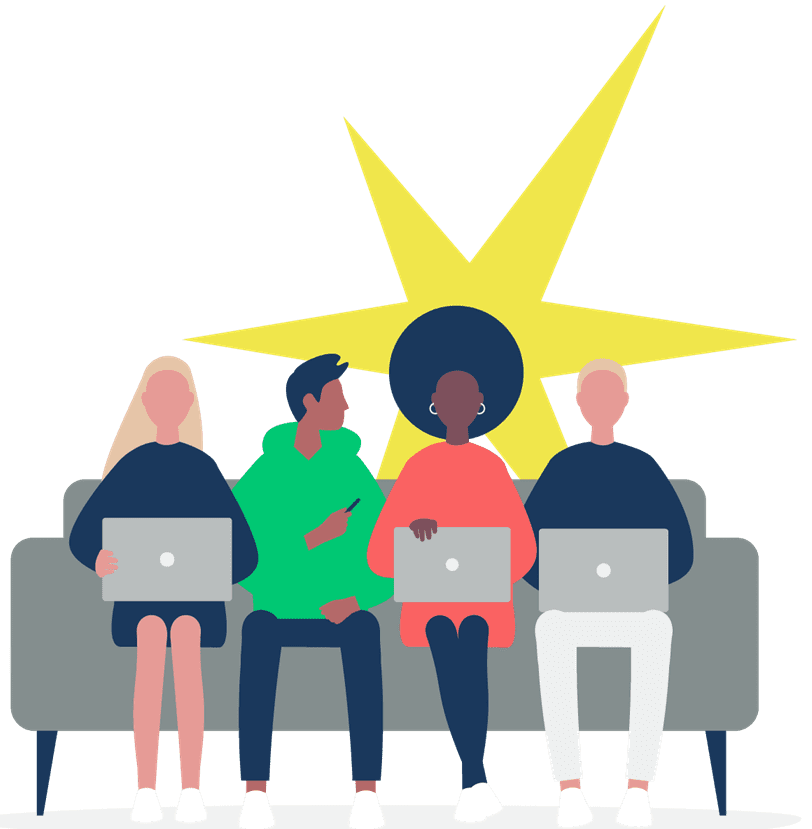 Cartoon image of GenSpark students sitting on a couch with a yellow star in the background