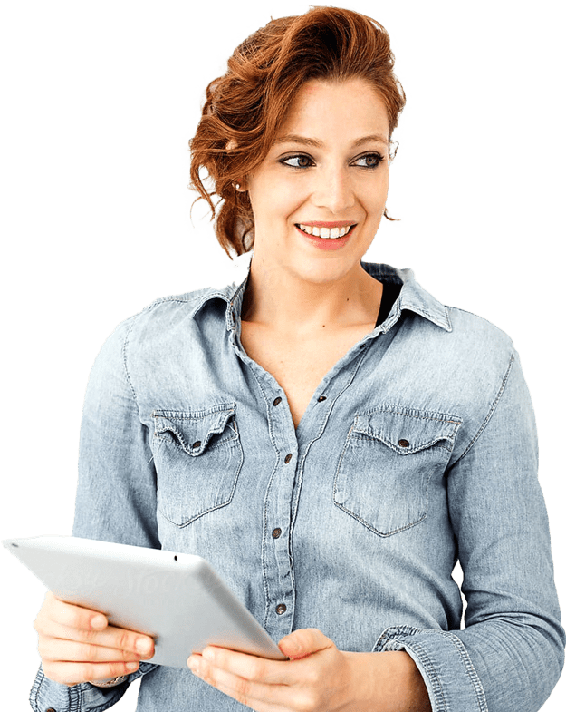 Woman in jean shirt and bright red hair, holding an ipad, smiling, looking off to the right