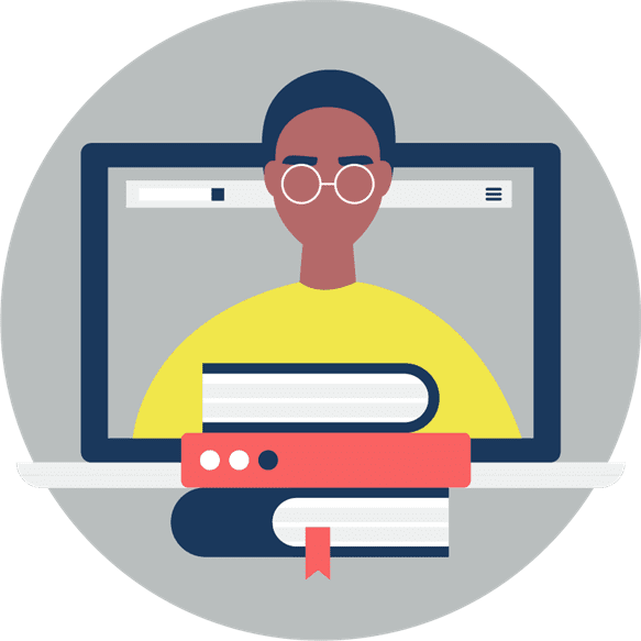 Cartoon image of a young man coming out of a laptop screen with 3 books sitting in front of him.