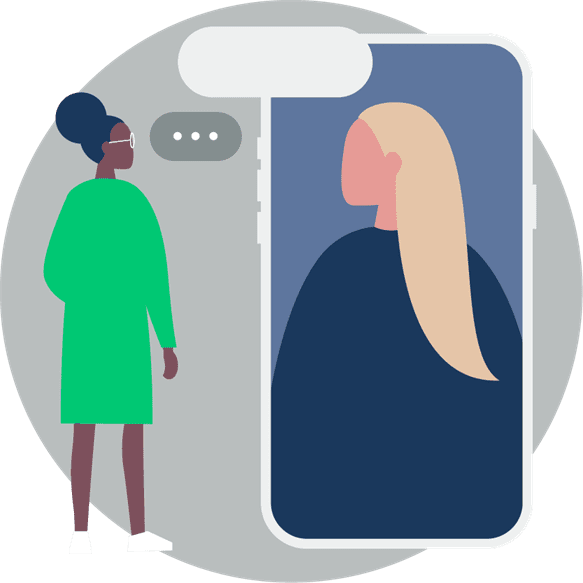 Cartoon image of a girl standing next to a cell phone the same size as her. On the phone is a girl and they are both facing each other with text boxes floating above them. There is grey circle behind them.