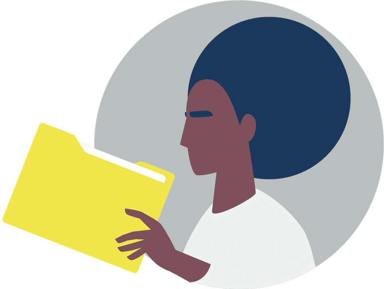 Cartoon image of a woman with file folder icon