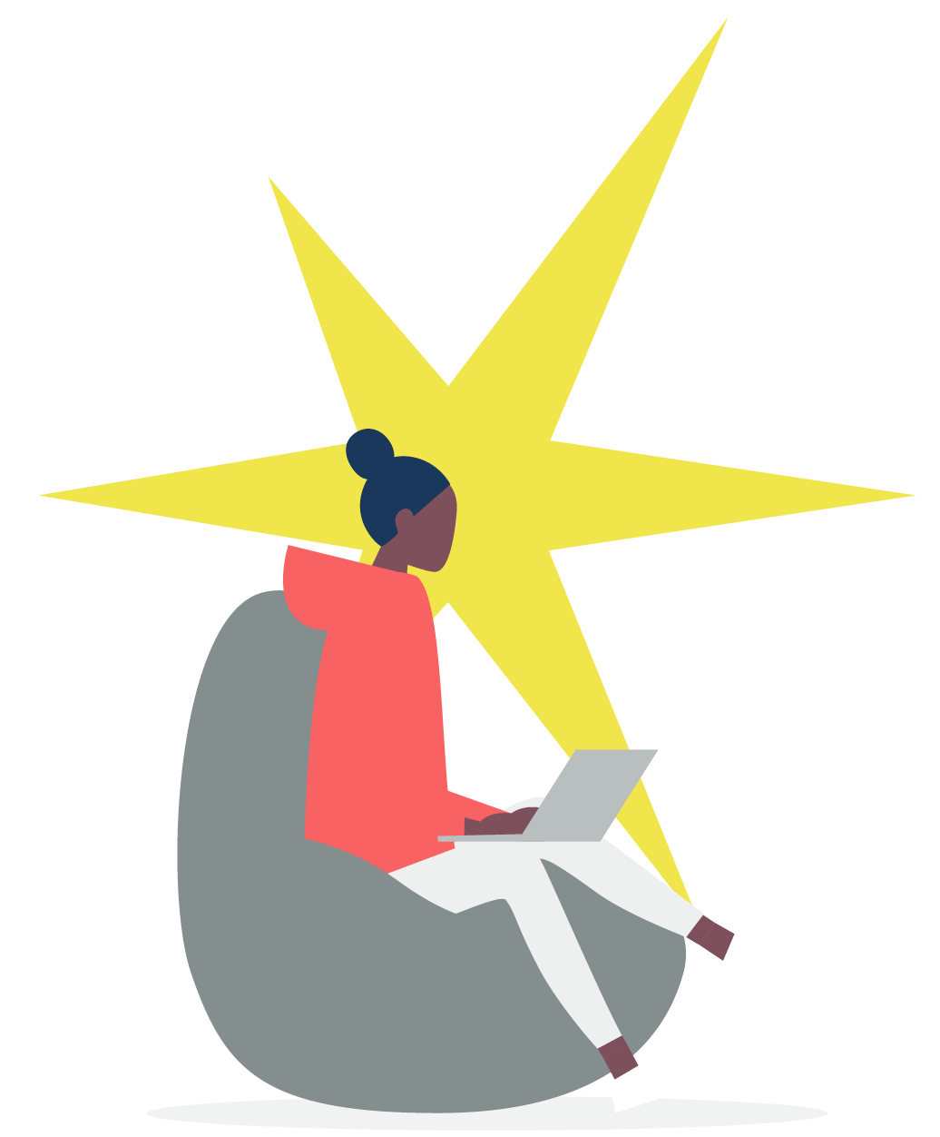 Cartoon image on a girl on a bean bag chair working on a laptop with a large yellow star behind her.