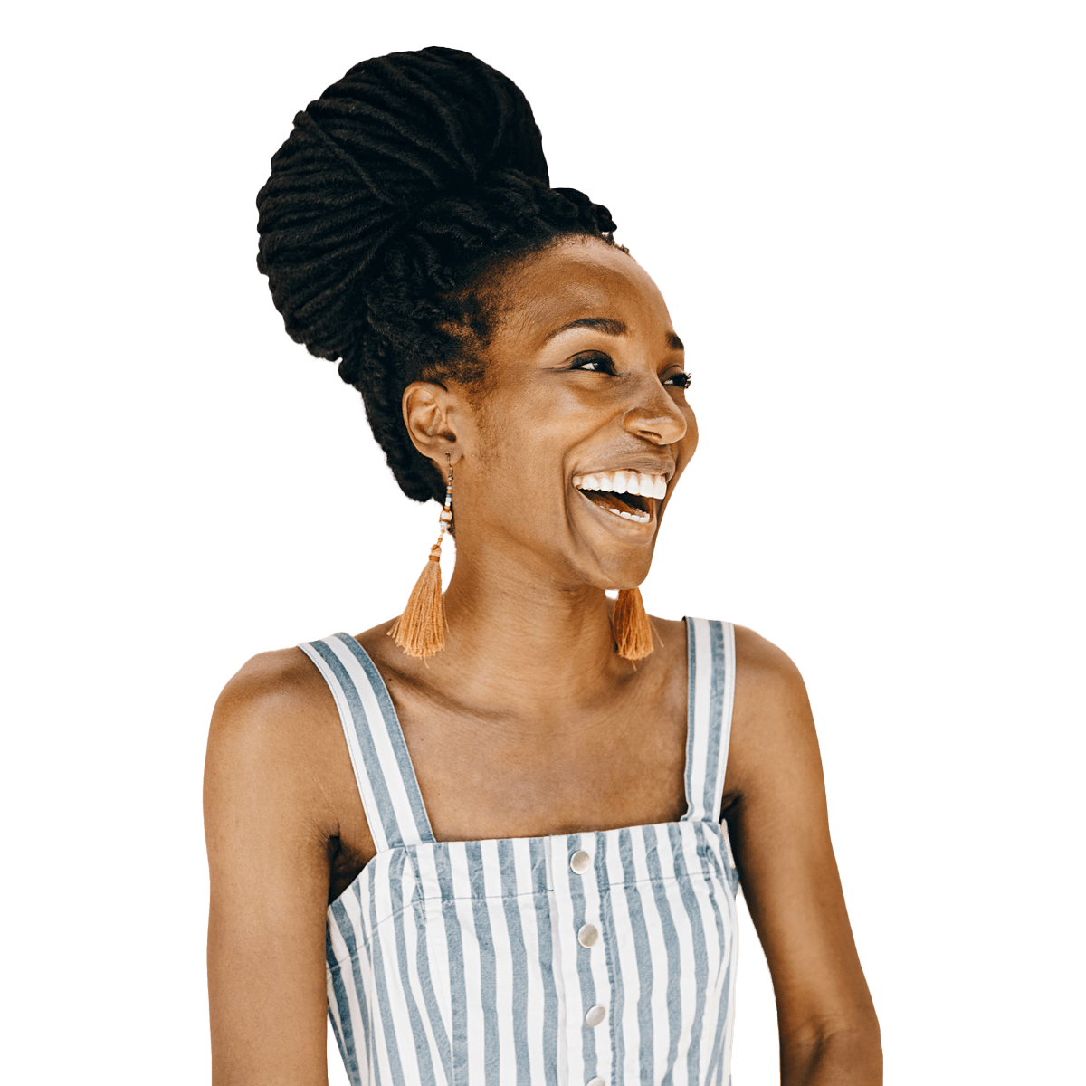Woman in striped shirt looking off to the side smiling and laughing.